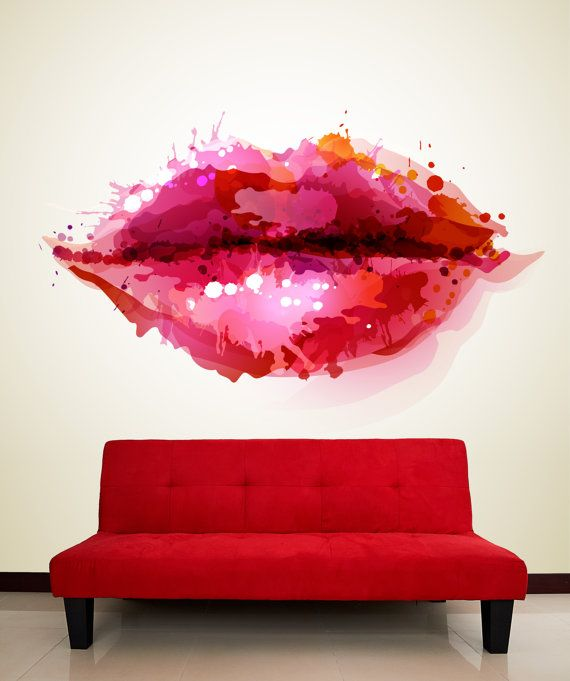 LIips abstract wall mural, Repositionable peel & stick wall fabric, removable wall decal.