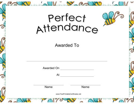 16 best certıfıcate images on Pinterest Printable certificates - Free Printable Perfect Attendance Certificate