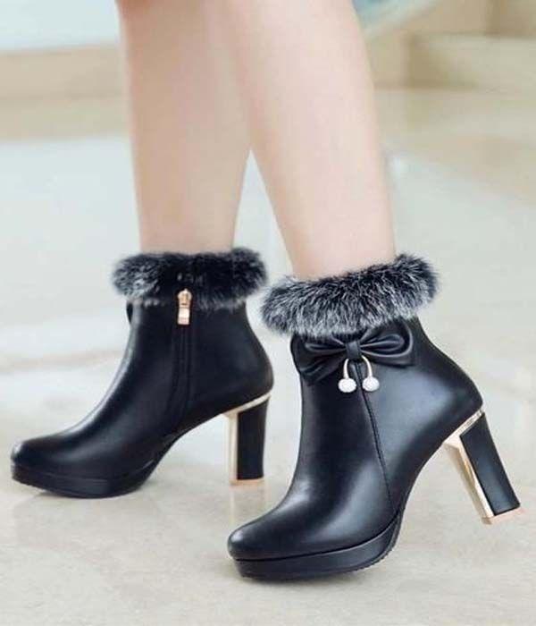 Black Round Toe Chunky Bow Fashion