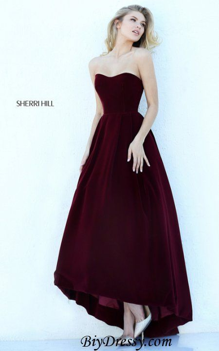 Sherri Hill 50735 Wine Velvet High Low Homecoming Dress