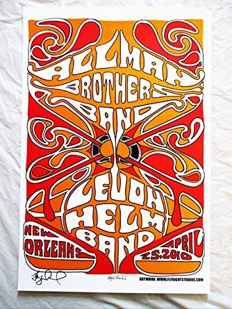 2010 Allman Brothers New Orleans Concert Poster Autographed