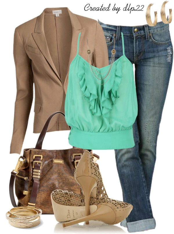 """Green and Beige"" by dlp22 on PolyvoreFashion Outfit, Women Style, Clothing, Closets, Polyvore, Colors Together, Work Outfit, Dlp22, Green And Beige Outfit"