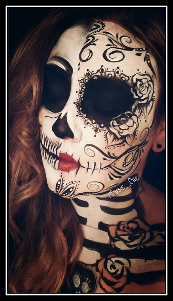 Day of the dead, dia de los muertos makeup, face paint, makeup, sugar skull