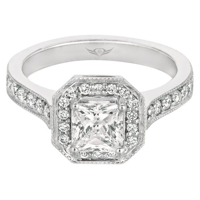 FlyerFit Classic Bead Set Micropave Engagement Ring