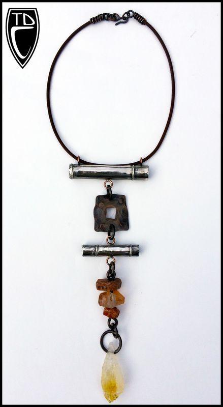 Todd Conover Stacked Element Necklace, 2014, sterling, copper, tangerine quartz, feldspar, citrine, leather