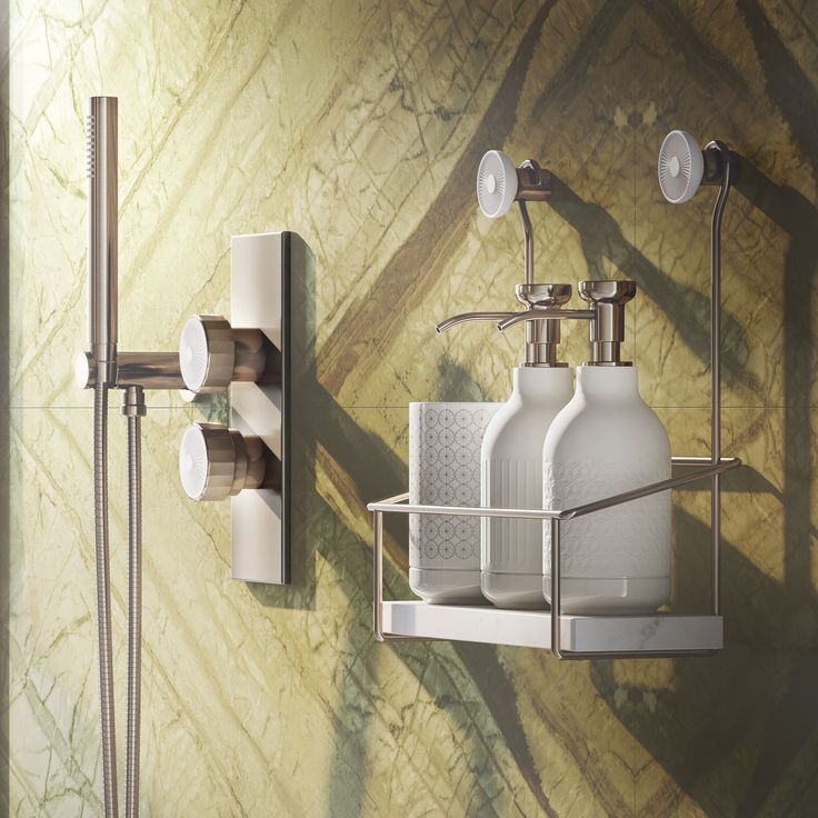 #Showerbasket with natural stone ledge hanging from two #porcelain #hooks. #Equilibrium collection. Designed by #edwardvanvlietofficial by #pomdorbathworld and #official_rosenthal.