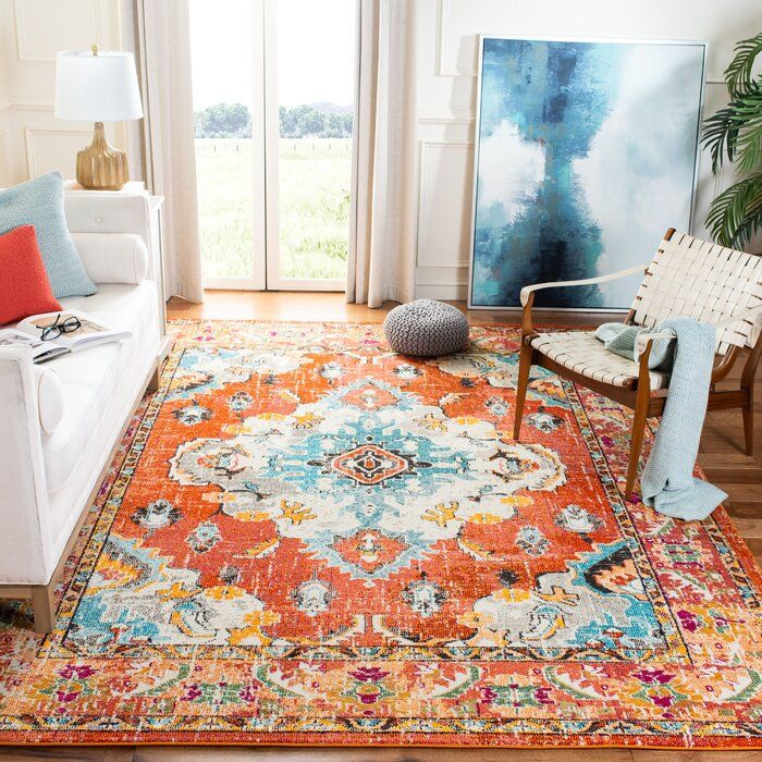 Tsukiji Oriental Orange Area Rug In 2020 Area Room Rugs Rugs In Living Room Colorful Area Rug