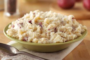 Creamy Parmesan Mashed Potatoes recipe - I made these for Christmas last year and Justin could not get enough of them!