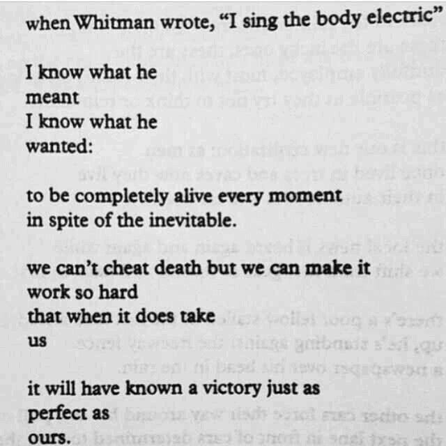 """we can't cheat death but we can make it work so hard that when it does take us ... it will have known a victory just as perfect as ours"" -Charles Bukowski"