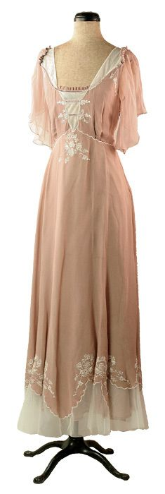 """Mocha Latte"" long pale pink dress with white trim & Edwardian design from Victorian Trading Co."