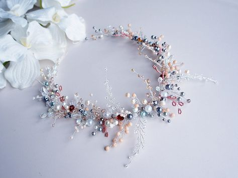 Bridal Headpiece-Wedding Hair Vine -Bridal Hair Vine-Bridal Hair Accessories-Crystal Pearl Headpiece