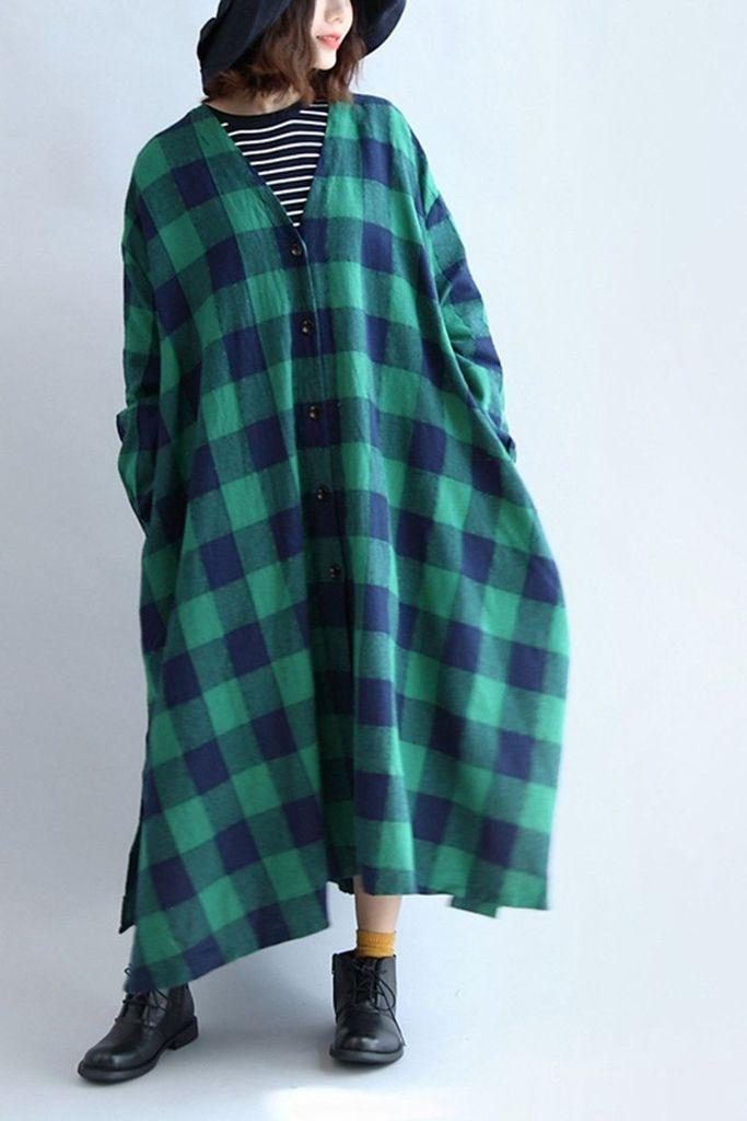 Linen Plaid V-neck Elastic Waist Loose Plus Size Women Dress