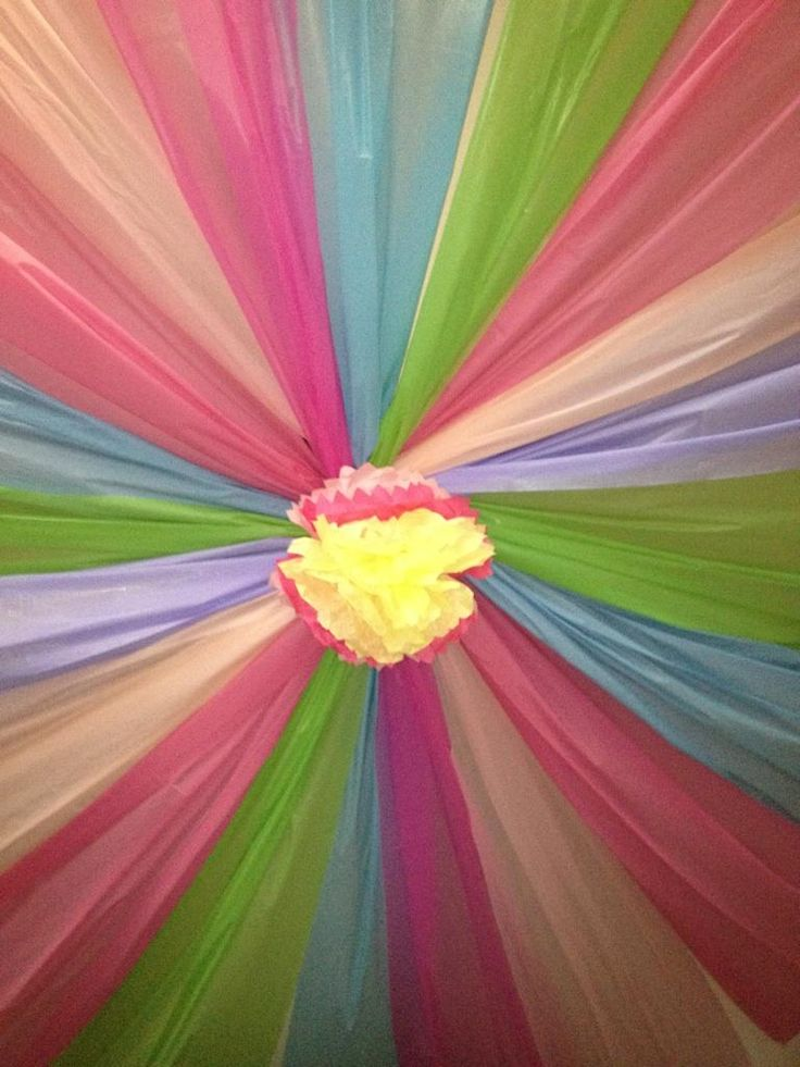 Party Ceiling From Plastic Tablecloths All About Weddings