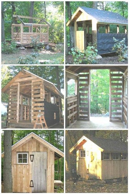 The Pallet Shed: Using Recycled Materials to Construct Garden BuildingsChicken Coops, Sheds, Chicken House, Pallets Pallets, Pallets Ideas, Gardens Buildings, Wood Pallets, Diy, Pallets Projects