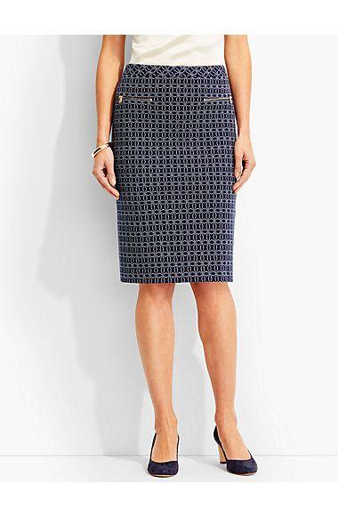 Geo-Oval Pencil Skirt - Talbots