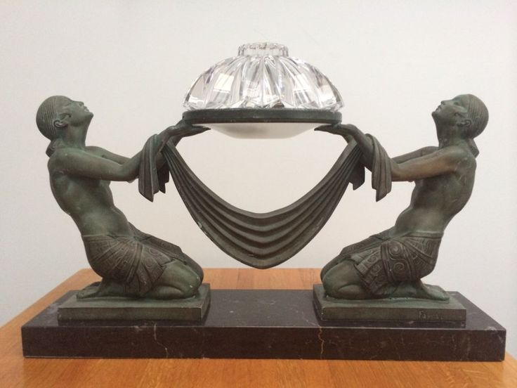 Art Deco Lamp Ecstasy 1925 Le Verrier Foundry Signed Fayral #ArtDeco #MaxLeVerrierFoundry