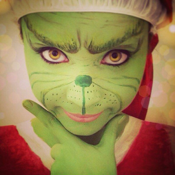 christmas, costume, green, grinch, make, make up, makeup