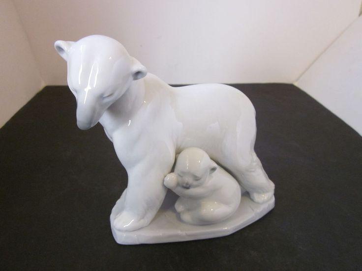 Lladro Arctic Family 6745 Mother Polar Bear with Cubs 6.5 ...