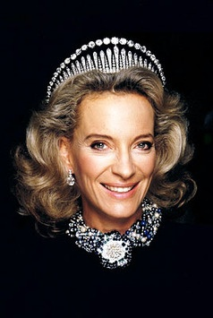 Princess Michael of Kent wearing the Kent City of London Fringe Tiara. It features diamonds set in gold and silver
