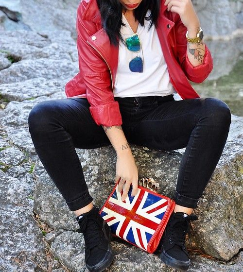Get this look: http://lb.nu/look/8511707  More looks by Giorgia Maniera: http://lb.nu/gmaniera  Items in this look:  Vans Sneakers, London Rebel Bag London Flagg, H&M Black Pants, No Name Red Leather Jacket