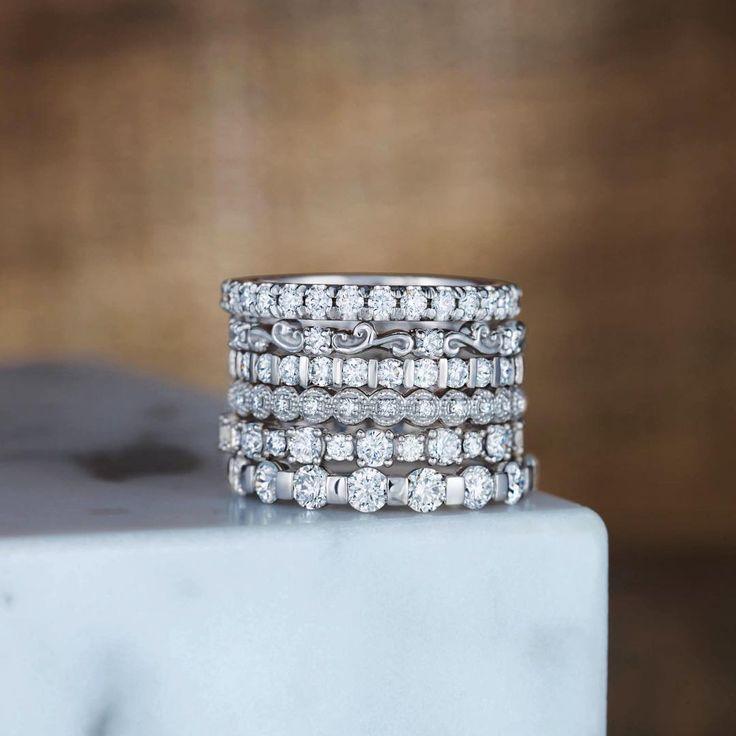 Platinum Diamond Wedding Bands - 70th Wedding Anniversary Gift - Stuller