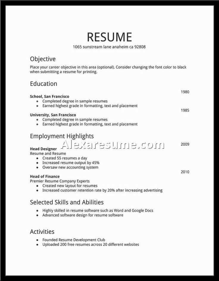 resume templates for microsoft word 2010 format examples freshers free download doc objective basic letter email outline