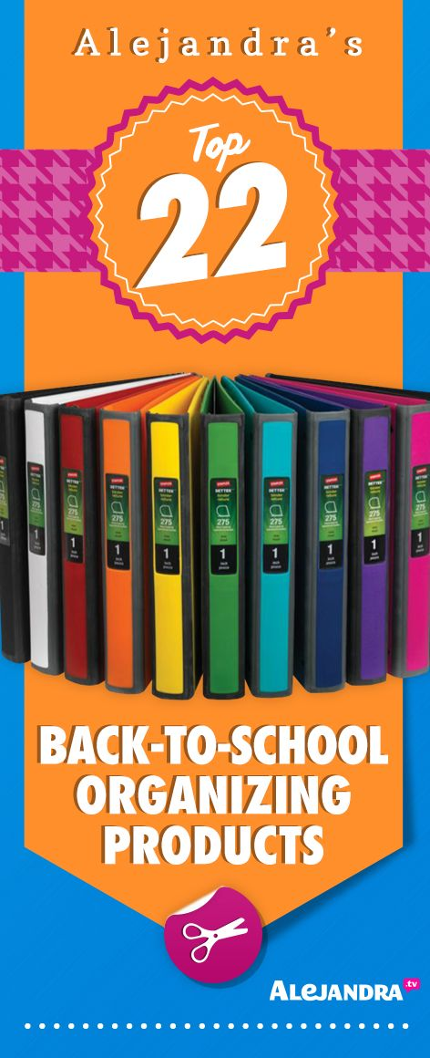 Want your #kids to have an organized school year? Give these Back-To-School Organizing Products a try: https://www.alejandra.tv/shop/best-home-organizational-products/?producttype=school-2&utm_source=Pinterest&utm_medium=Pin&utm_content=SchoolProducts&utm_campaign=TopProducts/#school