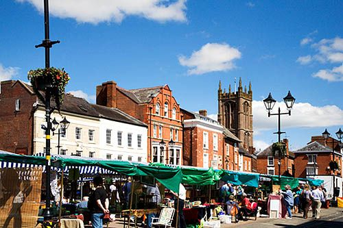 Market in Castle Square Ludlow Shropshire England, via Flickr.