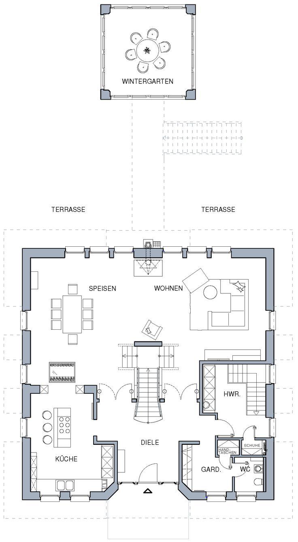 Grundriss einfamilienhaus schlafzimmer im erdgeschoss for Die besten grundrisse