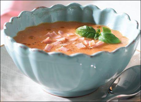 Hjemmelaget tomatsuppe med skinke