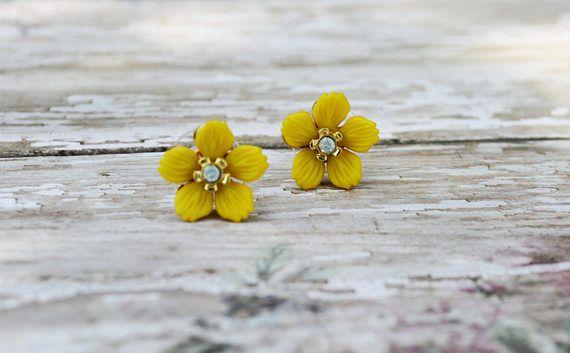 SALE Yellow Flower Earrings Dainty Flower Stud Earring