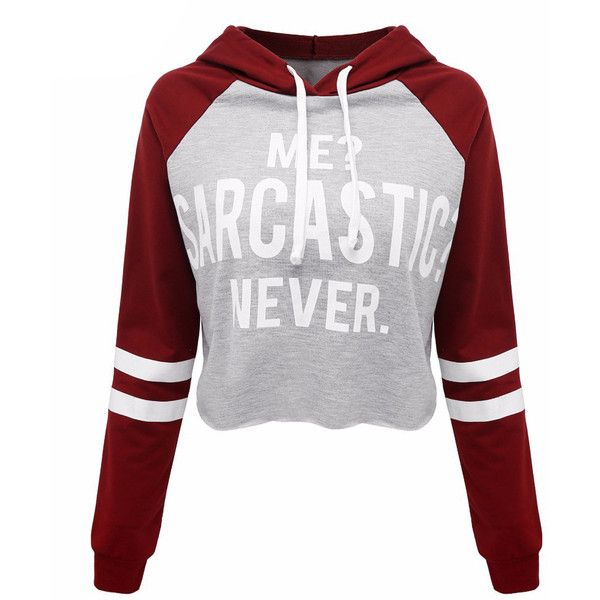 Gray Letter Print Contrast Stripe Sleeve Cropped Hoodie (€22) ❤ liked on Polyvore featuring tops, hoodies, shirts, crop top, gray hooded sweatshirt, cotton shirts, gray hoodie and hooded pullover