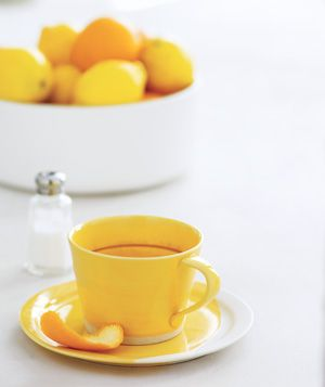 Citrus peel used to remove coffee and tea stains