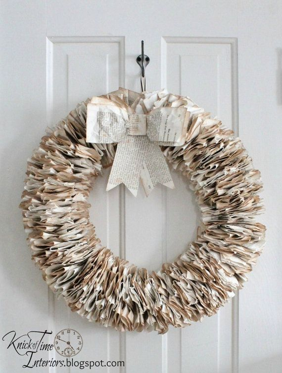 antique book page wreath by knickoftime httpswwwetsycom - Book Page Decorations