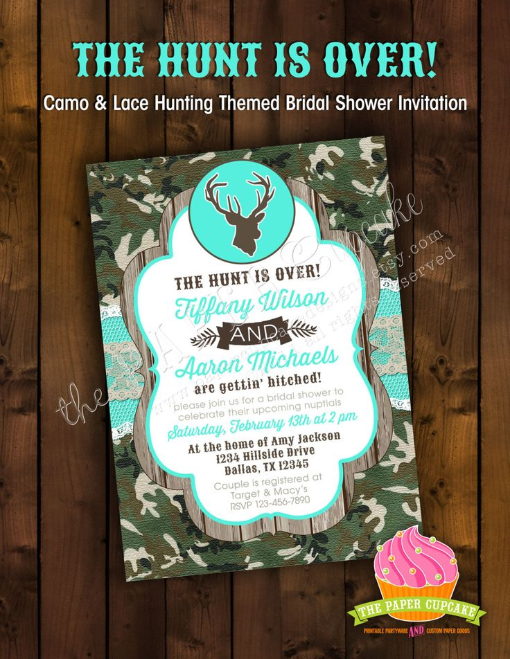 The Hunt is Over - Camo & Lace Hunting Themed Camouflage Bridal Shower Invitation Design by papercupcakedesigns on Etsy