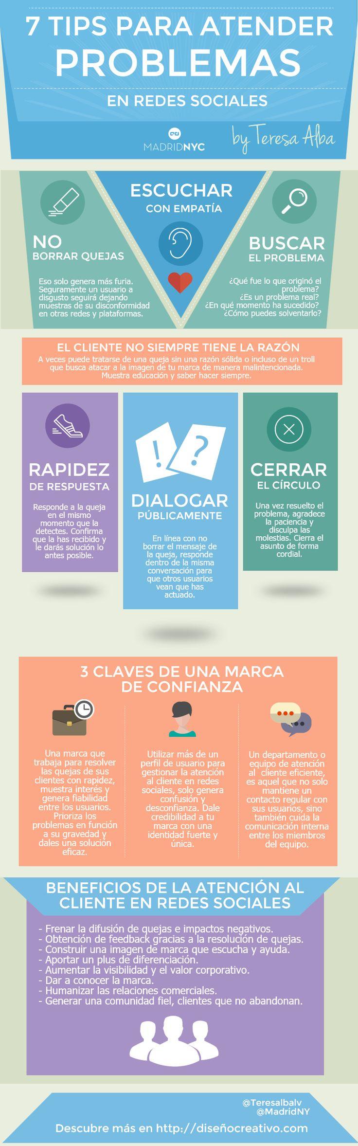 Hola: Una infografía con 7 consejos para atender problemas en Redes Sociales. Vía Un saludo
