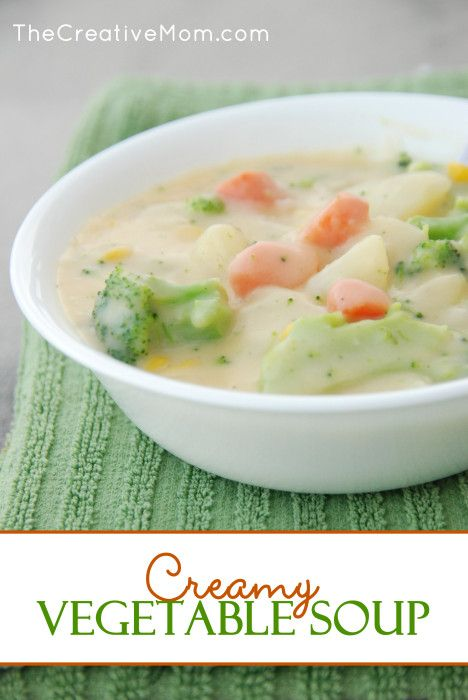 Creamy Vegetable Soup Recipe (a one-pot dinner!) from TheCreativeMom.com