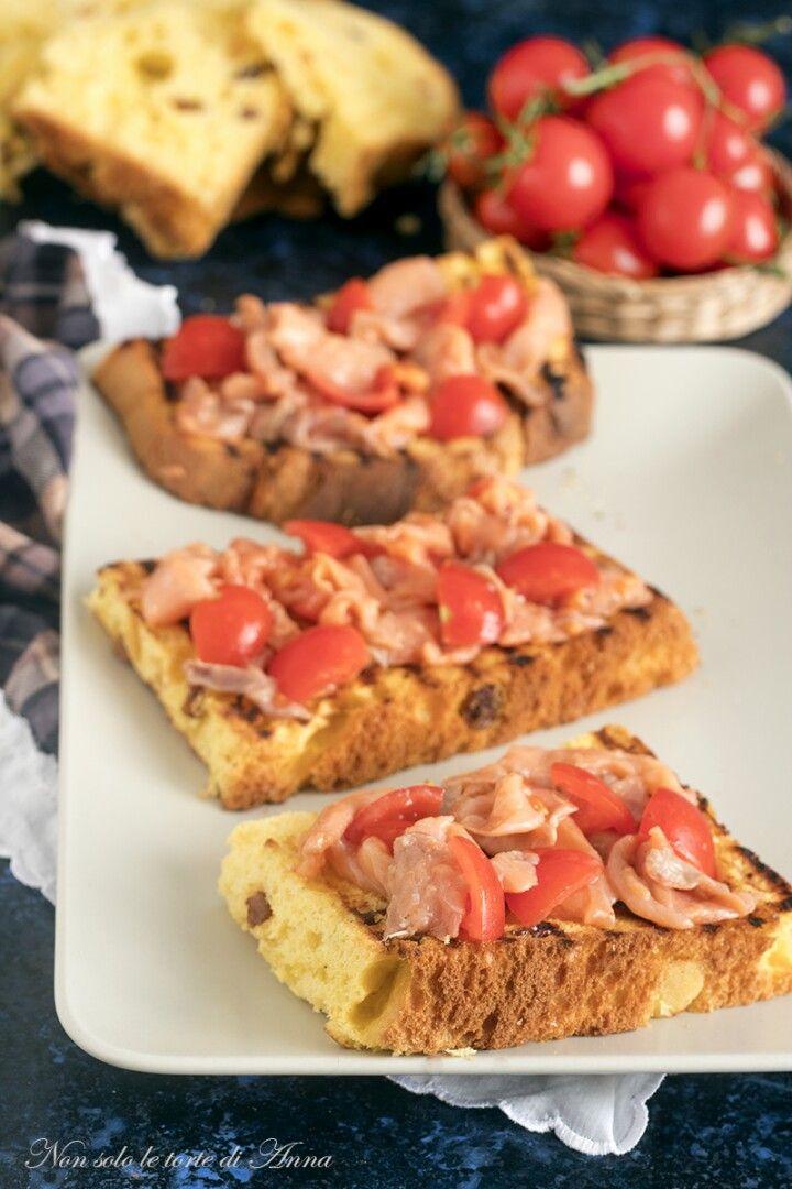 La bruschetta con panettone e guarnita con salmone for Cucina facile ricette