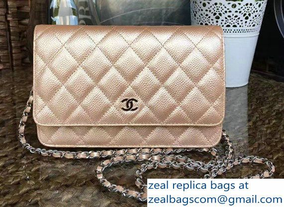 Chanel Grained Metal Wallet On Chain WOC Bag A80982 Gold 2017