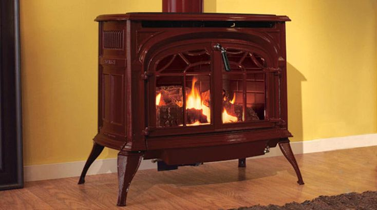 Vermont Casting's Radiance Direct Vent gas stove in classic balck, ebony black, cream, and bordeaux