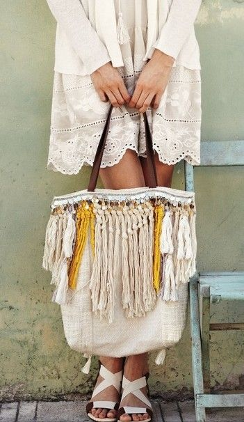 Design Inspiration | Add fringe and other embellishments to top edge of plain canvas bag to create a boho vibe