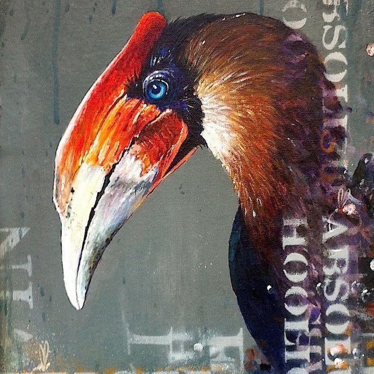 Tim Niall-Harris - Sub Urban Bird Artist - Spray paint bird graffiti art. Featuring paintings of parrots, hornbills and grouse on walls and in the studio.