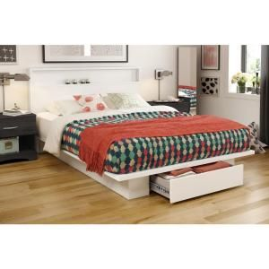 South Shore Holland Pure White Full or Queen Platform Bed Frame 3340A2 at The Home Depot - Mobile