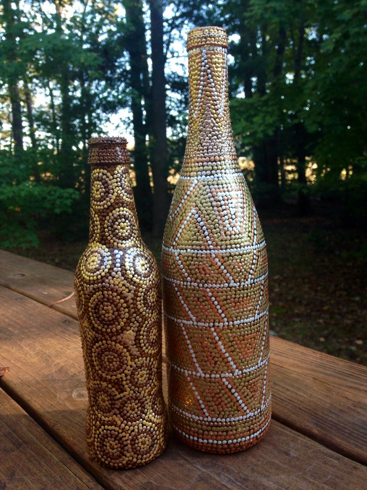 Dot Art Hand painted earth color wine