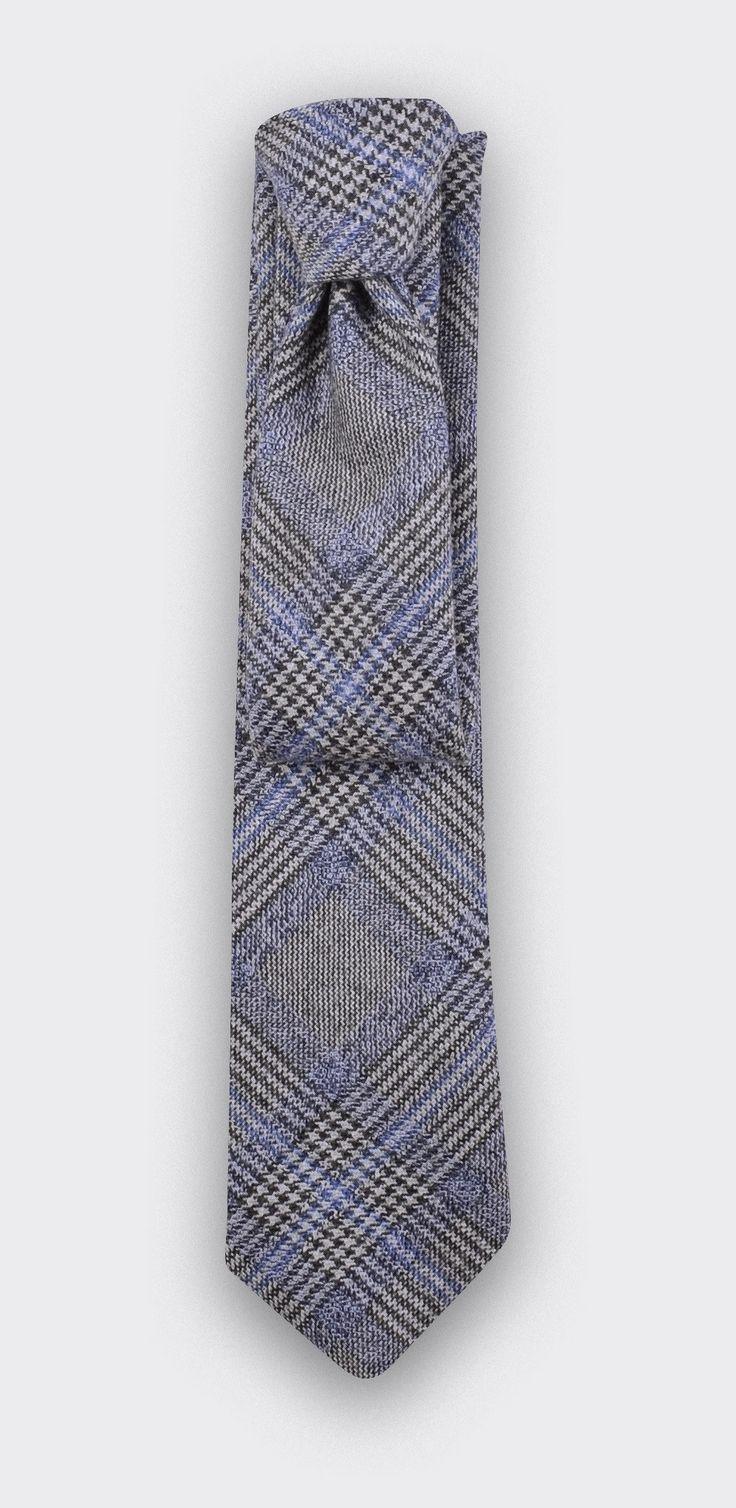 CINABRE Paris - Cravate Bleu Prince de Galles  #cinabre #paris #cravate #tie #princedegalles #gris #bleu #grey #blue #cocktail #business #work #travail #classic #style #handmade #madeinfrance