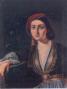 Greek girl, Paintings by Th.Vrysakis (1819-1878)