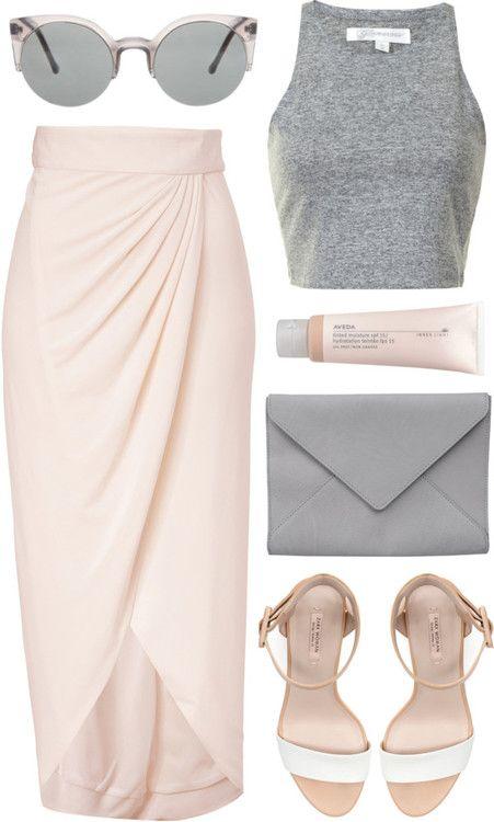 blush, pink, outfit, pink + grey, crop top, wrap skirt, envelope purse, blush