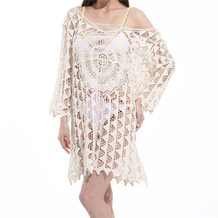 White Beach Cover Up Cotton V-neck Dresses 2017 Woman Beach Dress Tunic Triangle Crochet Swimsuit Cover Up Long Sleeve Beachwear