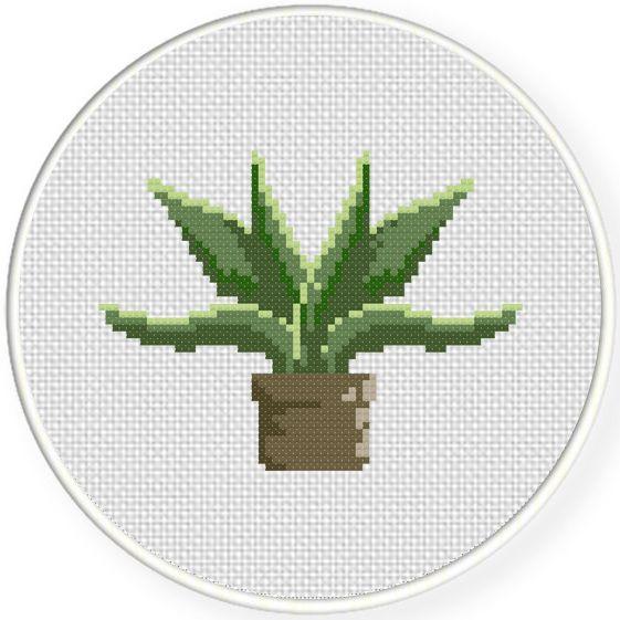 FREE Green Plant Cross Stitch Pattern