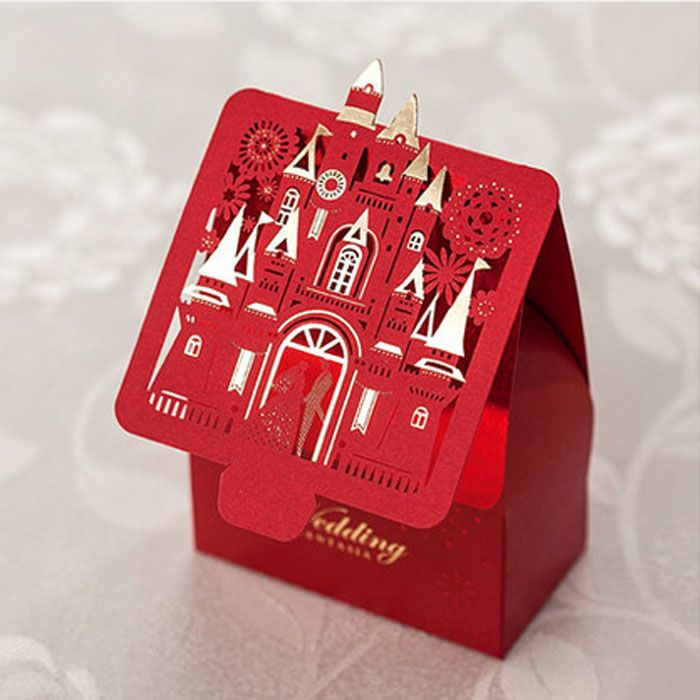 Laser cutting Chinese Red wedding Candy box Wedding Favor GIft Candy Box-in…